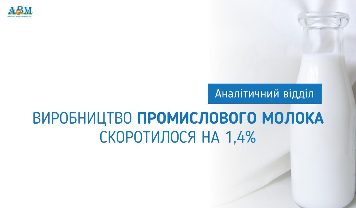 Виробництво промислового молока скоротилося на 1,4%. Сезонний фактор підсилить дефіцит молока-сировини на ринку.